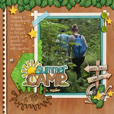 Summer Camp digital scrapbook layout by KarenZ | Kate Hadfield Designs Creative Team
