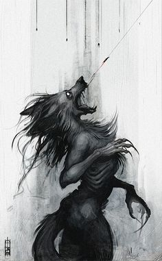 Wolf Monsters At first I was freaked out by this and then I thought, yes, perfect for the 'punishment' for Braxton, the Cloud Prince. Dark Fantasy Art, Dark Art, Arte Horror, Horror Art, Art Sinistre, Werewolf Art, Werewolf Tattoo, Art Anime, Creepy Art