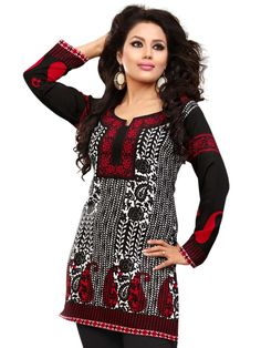 Graceful black, white and red color floral and paisley print crepe kurti designed with round neck.  Item Code: KLXD59CEVT Shop more: http://www.bharatplaza.com/women/kurti-tunics.html  #kurtis #Online #Stylish