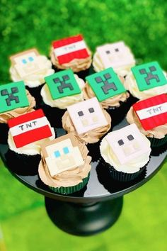 If you are looking for some fun Minecraft cupcake toppers then we've got you covered! Decorate a bunch of cupcakes with this great mix of fondant Minecraft toppers. They are sure to impress your guests! See more party ideas and share yours at CatchMyParty.com