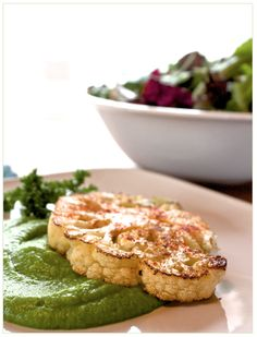 Helyn's Plant-Based Kitchen » Cauliflower Steaks with Sweet Pea Purée