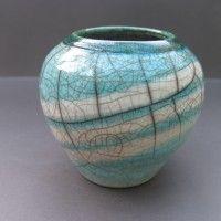 Raku-fired crackle glaze vase by Keith Kent