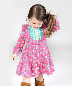 Look at this Pink Polka Dot Rosetta Dress - Toddler & Girls on #zulily today!