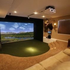 Golf Simulator Photo Gallery - Take a look at some of the many TruGolf golf simulators featured in homes, businesses and golf facilities around the globe. Home Golf Simulator, Indoor Golf Simulator, Golf Room, Golf Simulators, Basement House, Basement Walls, Basement Ideas, Man Cave Home Bar, Home Theater Rooms