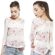 2014 Patrón Nueva Primavera Womens Europea blusa de la gasa de la manga larga de las mujeres floral Tops Camisas ahuecan hacia fuera Vestimenta SML en Blusas y Camisas de Moda y Complementos en AliExpress.com | Alibaba Group