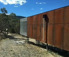 rusted metal on a sunny day at #macedon #ranges. #corten #box #house #mountmacedon #victoria #australia.  #built by @seventy7projects #architecture by #fieldofficeofarchitecture. #building #architect #design #australianarchitecture #archdaily #archilovers #iphonography by seventy7projects