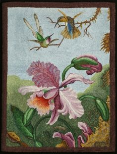 From the artwork of Martin Johnson Heade (with permission). Amazing rug hooking by Roland Nunn.