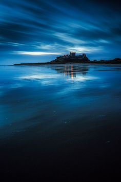 Blue hour at Bamburgh Castle, Northumberland, UK