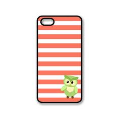 Funny iPhone 4 4S Coral Pink And White Stripes And Green Owl Hard Cover iPhone Case / 0035