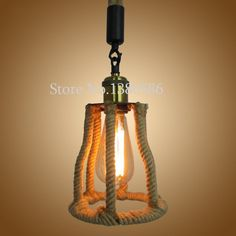 Vintage E27 Hemp Rope Pendant Lamp Decorative Lights Retro Creative American Village Light For Restaurant