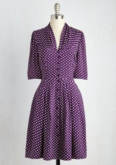 Star Studded Performance Dress in Dots. As you bow before a standing ovation, you feel applause-worthy in this rich purple dress by hard-to-find British brand Emily and Fin! #purple #modcloth