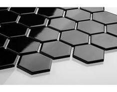Hexagon duży, czarny, szkliwiony