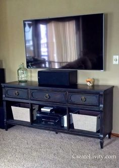 CreateLivity is...: Media Console From Repurposed Dresser