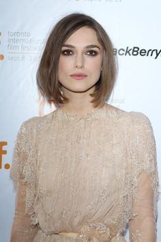 Try a chic bob that hits an inch or two below your chin for a sophisticated look like Keira Knightley's that works great with any type of makeup.  - GoodHousekeeping.com