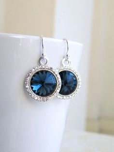 Montana Navy Blue Earrings Swarovski Crystal Rivoli Sterling Silver CZ Halo Bridesmaid Jewelry Wedding Jewelry Bridal. $30.00, via Etsy.
