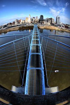 skyline from the Roebling bridge! Cincinnati Skyline, Cincinnati Art, Great Places, Places To See, Kentucky, The Buckeye State, Ohio River, Suspension Bridge, Thing 1