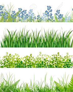 green grass floral banner collection over white background Stock Vector - 14043682 Watercolor Landscape, Landscape Art, Watercolor Art, Digital Painting Tutorials, Art Tutorials, Grass Drawing, Garden Fence Art, Old Paper Background, Floral Banners