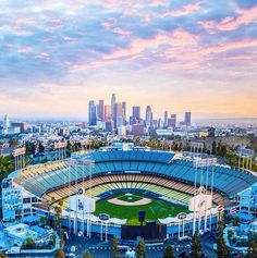 Dodger Stadium with the city of Los Angeles in the background.
