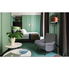 "Inspirational and prolific - Patricia Urquiola's Hotel ""Room Mate Giulia"" in Milan is a mix of fun, fresh and just a little sexy with its layers and layers of detail. There is no beige here and that is gold to me. #interiordesign #interiorinspiration"