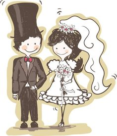 Hand-painted version of the bride and groom - vector material