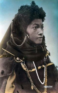 Haratin woman, Ouargla, Southern Algeria. Vintage postcard post stamped 1965.
