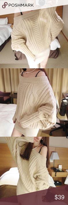 """Slouchy ivory sweater ivory knitted sweaterBoutique Material: acrylics. Measurement: length: 33-34"""", bust: 37-38"""", sleeve length: 24"""" Sweaters"""