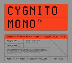 Cygnito Mono™ - New Modular Typeface on Behance Type Posters, Graphic Design Posters, Graphic Design Inspiration, Typography Design, Poster Designs, Lettering, Web Design, Type Design, Editorial Layout