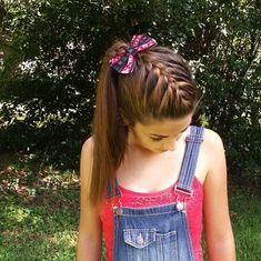 diagonal #Frenchbraid into a High side #ponytail and a #braid accent #hairstylesbysophie