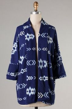 Navy Aztec Cardigan - Ashe Couture, Inc