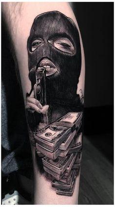 Gangster Tattoos, Chicano Tattoos Gangsters, Lettrage Chicano, Chicano Tattoos Sleeve, Chicano Style Tattoo, Best Sleeve Tattoos, 13 Tattoos, Dope Tattoos, Badass Tattoos
