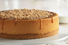 Triple-Caramel Cheesecake Lemon Cheesecake Bars, Classic Cheesecake, Caramel Cheesecake, Cheesecake Recipes, Dessert Recipes, Coffee Cheesecake, Fall Desserts, Kraft Foods, Kraft Recipes