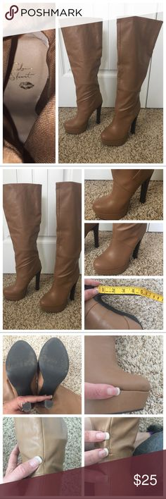 Colin Stewart Brown Heel Boots Colin Stuart Brown Heel Boots. Size 7.5. 5in Heel. I have taken pictures with measurements. Preowned with some small wear but not very noticeable. Still look in very good condition. I have also taken pictures of small wear. Light brown faux leather. Thanks. Colin Stuart Shoes Heeled Boots