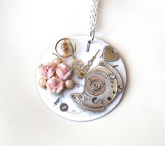 """Victorian Steampunk Necklace """"Early Summer Roses"""" by TimeMachineJewelry"""