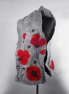 Felted Scarf Poppy scarf Red Poppies Art Wrap Artistic Shawl Nuno felt Scarves…