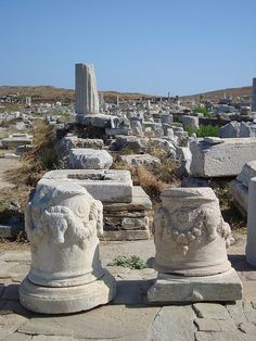 Ancient Delos island, near Mykonos island, Cyclades, Greece Delos Greece, Greece Art, Archaic Greece, Ancient Greece, Mykonos Island Greece, Classical Greece, Mycenaean, Minoan, Ancient Ruins