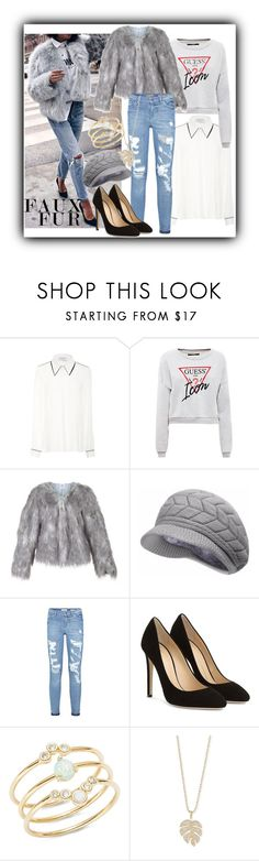 """""""Guess who's the icon!"""" by jomax ❤ liked on Polyvore featuring Gabriela Hearst, Giuseppe Zanotti, Tai, Sydney Evan, Guess, fauxfur, guessjeans and GuessSweatshirt"""