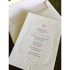 Gorgeous feminine and delicate bridal shower invitations custom created for Ana!  The letterpress handdrawn vintage teapot just makes us swoon!  Printed with 2 color letterpress plus blind deboss, plus edge paint and custom lined envelopes.
