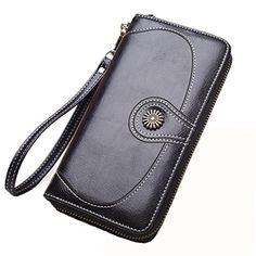 womens black wallet clutch long zipper flower button accent wallet large capacity 8 credit card holder - Best Credit Card Holder