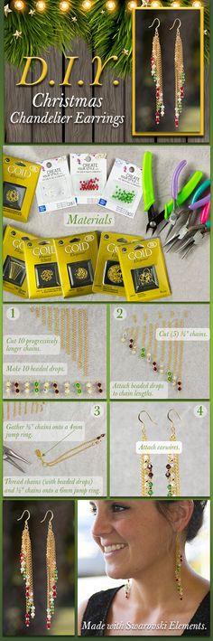 DIY Christmas Chandelier Earrings with Swarovski Crystals
