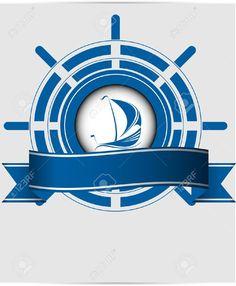 Etiqueta de barco de vela, volante del barco. Para rellenar el texto que se quiera.