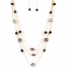 Everett's Gold Multi Chain Black Beaded Necklace and Earring Set