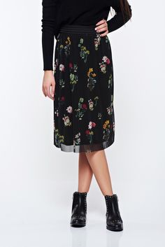Top Secret black skirt casual from tulle embroidered with elastic waist, elastic waist