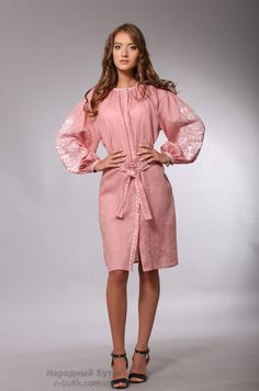 Платье розовое с вышивкой Дерево жизни, купить - Народный бутик
