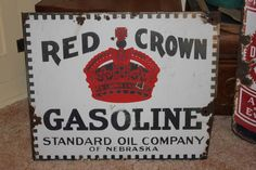 vintage RED CROWN GASOLINE porcelain advertising sign STANDARD OIL of NEBRASKA