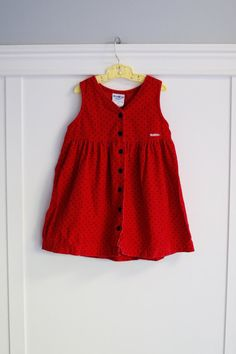 3T:  OshKosh Red Jumper Dress in Red and Black Polka Dot Corduroy, Black Front Buttons