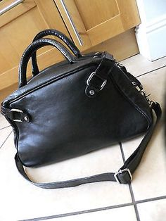 M by #madonna for h&m  #black genuine leather hand #shoulder bowling bag ,  View more on the LINK: http://www.zeppy.io/product/gb/2/121996119327/
