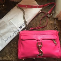 🎉Hot Pink Rebecca Minkoff Mini MAC crossbody Bag In great condition. Comes without dust bag. Minor scuff on leather in corner unrecognizable though (second picture). No pink string on front zipper Rebecca Minkoff Bags Crossbody Bags