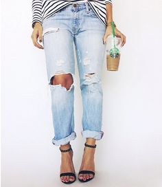 << distressed denim + heels + stripes {and iced coffee, of course!} >>