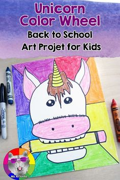 This Color Wheel, Back to School Art Project features every kids current favorite mythical creature, the unicorn. Color Wheel Art Project is great for Back to School to get your walls fun and funky and your kids learning about color, but can be used any t Fall Art Projects, Animal Art Projects, School Art Projects, Projects For Kids, Back To School Art, Art School, School Stuff, Color Wheel Art, Art Classroom