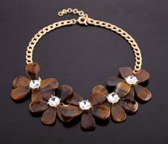 2013 New Hot Eye-Catching Jewelry Gold Chain punk coffee With flower pendant Necklace styles For Women JP091613